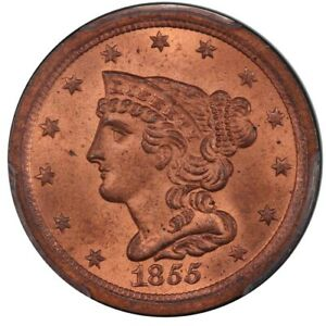 Click now to see the BUY IT NOW Price! 1855 1/2C BRAIDED HAIR HALF CENT PCGS MS65 RD CAC
