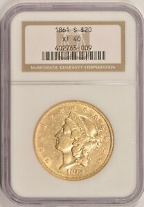 1861 S $20 GOLD DOUBLE EAGLE NGC XF40 TYPE 1 CIVIL WAR ERA COIN IN OLDER HOLDER
