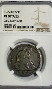 1872 CC SEATED LIBERTY HALF DOLLAR NGC VF DETAILS