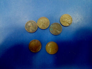 USA COIN LOT OF ONE CENTS 1926 1936 1944 1952 1955 1957  T2849