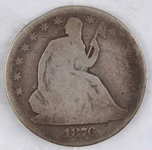 1876 SEATED LIBERTY SILVER HALF DOLLAR   DOUBLEJCOINS   4007 13