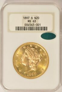 1897 S $20 LIBERTY GOLD DOUBLE EAGLE COIN NGC MS 63 CAC APPROVED IN AN OLD FATTY