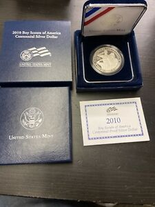 2010 P BOY SCOUTS OF AMERICA PROOF SILVER DOLLAR BY1 BOX COA US MINT