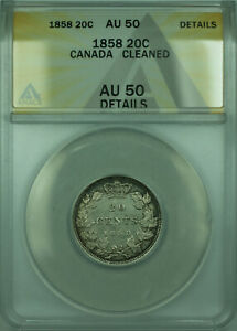 Click now to see the BUY IT NOW Price! 1858 CANADA 20 TWENTY CENTS SILVER COIN ANACS AU 50 DETAILS CLEANED  WB1