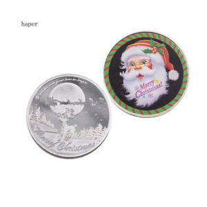 HOLIDAY GIFTS SILVER COIN SANTA CLAUS COMMEMORATIVE METAL COIN CHILD TOY GIFTS