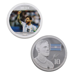 MESSI COMMEMORATIVE FOOTBAL METAL COIN 999.9 SILVER PLATED COIN CHRISTMAS GIFTS