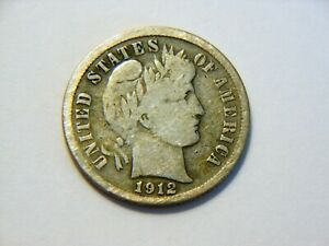 WOW  1912 S VF SILVER BARBER DIME  NICE VINTAGE COIN FOR ANY COLLECTION