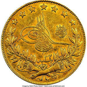 Click now to see the BUY IT NOW Price! OTTOMAN EMPIRE. ABDUL HAMID II GOLD 100 KURUSH AH 1293 YEAR 1907 NGC AU 58 TOP 4