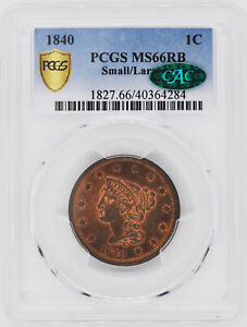 Click now to see the BUY IT NOW Price! 1840 BRAIDED HAIR 1C PCGS MS 66 RB