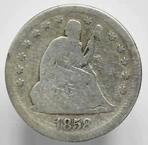 1858 P SEATED LIBERTY SILVER QUARTER TYPE 2