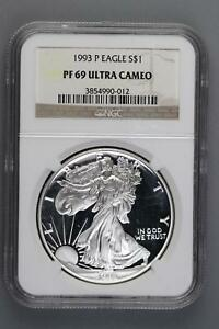 1993 P PROOF SILVER EAGLE NGC PF69 UCAM  DOUBLEJCOINS  5006 83