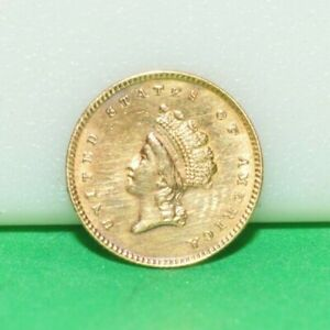 1854  TYPE 2 $1 US GOLD PIECE STAINED BACK  CLEANED