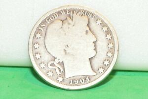 1904 BARBER 50C SILVER COIN
