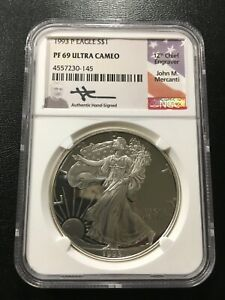 1993 PROOF SILVER EAGLE NGC PR 69 DCAM   MERCANTI SIGNED ASE  CERTIFIED SLAB  $1