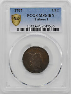 Click now to see the BUY IT NOW Price! 1797 LIBERTY CAP 1/2 PCGS MS 64 BN