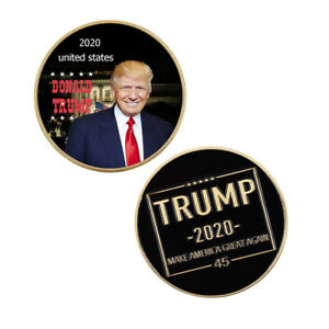 WORLD SOUVENIR GIFTS DONALD TRUMP 2020 COMMEMORATIVE 24K GOLD PLATED METAL COIN