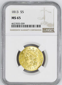 1813 CAPPED BUST $5 NGC MS 65