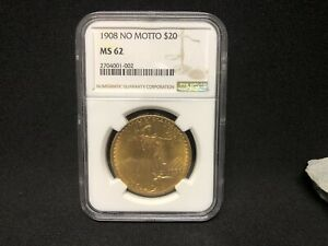 1908 $20 SAINT GAUDENS NO MOTTO NGC MS62 AMAZING COIN