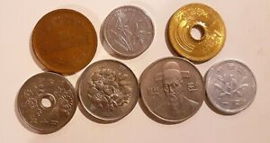 WORLD ASIAN 7 DIFFERENT COINS LOT