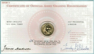 2007 JAMES MADISON PRESIDENTIAL DOLLAR MOUNTED ON CARD ENCAPSULATED UNC