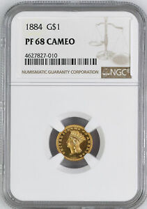 Click now to see the BUY IT NOW Price! 1884 GOLD G$1 NGC PR 68 CAM