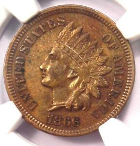 1866 INDIAN CENT 1C   NGC AU DETAILS    EARLY DATE CERTIFIED PENNY
