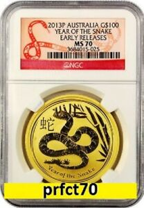 Click now to see the BUY IT NOW Price! 2013 AUSTRALIA CHINESE LUNAR YEAR OF THE SNAKE NGC MS 70 ER 1 OZ 9999 GOLD
