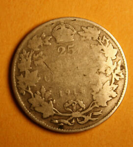 1914 CANADA 25 CENT SILVER COIN   FILLER   BENT & WORN