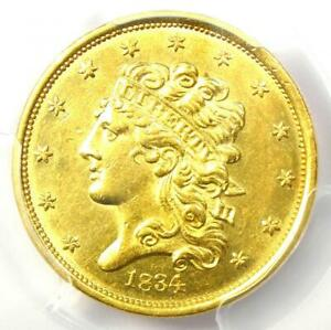 1834 CLASSIC GOLD HALF EAGLE $5 COIN   CERTIFIED PCGS AU58   $2 600 VALUE
