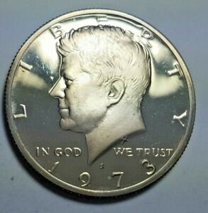 1973 S PROOF KENNEDY HALF DOLLAR CLOUDY TONED DCAM BRILLIANT UNCIRCULATED COIN