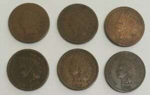 LOT OF 1 CENT COINS YEARS 1871 1872 1873 1874 1875 & 1876  ITEM7