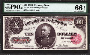 Click now to see the BUY IT NOW Price! $10 1890 TREASURY NOTE FR 368 PMG 66 EPQ   ONE OF THE FINEST ORNATE BACKS KNOWN