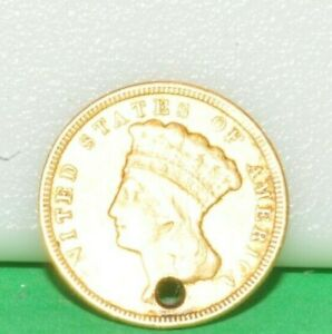 1856 US PRINCESS $3 GOLD BETTER DATE HOLED