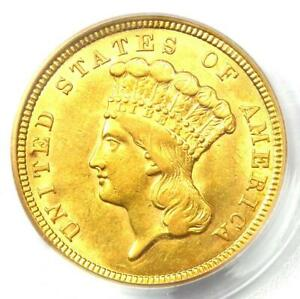 1854 THREE DOLLAR INDIAN GOLD COIN $3   CERTIFIED PCGS AU58    COIN
