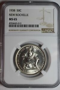 1938 NEW ROCHELLE SILVER COMMEMORATIVE HALF DOLLAR NGC MS65 012