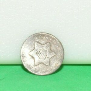 US 3 CENT SILVER COIN LOW GRADE FILLER  TRIME