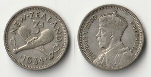 1934 NEW ZEALAND THREEPENCE SILVER COIN