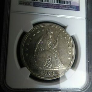 1853 SEATED LIBERTY DOLLAR NGC AU DETAILS.  DATE