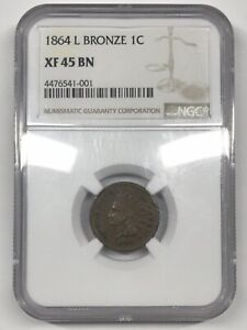 1864 L BRONZE INDIAN HEAD CENT   NGC XF45 BN  [C487E]