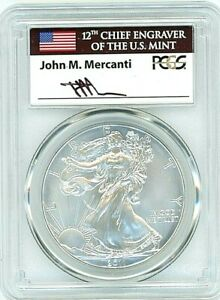 2011 W BURNISHED SILVER EAGLE PCGS SP 70 MERCANTI FLAG LOW POPULATION