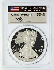 2001 W PROOF SILVER EAGLE PCGS PR70DCAM MERCANTI SIGNED FLAG LOW POPULATION