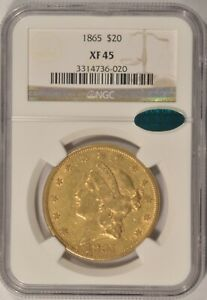 1865 $20 LIBERTY GOLD DOUBLE EAGLE COIN NGC XF45 TYPE 1 CAC APPROVED