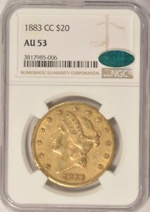 1883 CC $20 LIBERTY GOLD DOUBLE EAGLE COIN NGC AU53 CAC STICKER CARSON CITY MINT