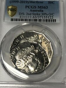 Click now to see the BUY IT NOW Price! AUSTRALIA 50 CENT MINT ERROR COIN DOUBLE STRIKE PCGS GRADED MS63