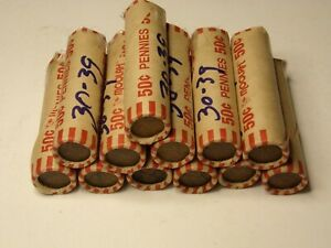 1 ROLLS 50  LINCOLN WHEAT CENTS FROM THE 1930'S