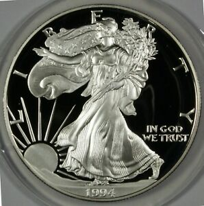 Click now to see the BUY IT NOW Price! 1994 P AMERICAN EAGLE SILVER PROOF DOLLAR COIN  $1 US PROOF W/BOX & COA
