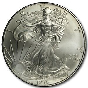 Click now to see the BUY IT NOW Price! 1996 SILVER AMERICAN EAGLE BU 1 OZ COIN US $1 DOLLAR UNCIRCULATED KEY DATE MINT