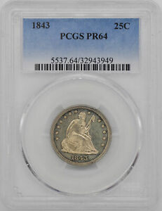 Click now to see the BUY IT NOW Price! 1843 LIBERTY SEATED 25C PCGS PR 64