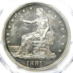 1881 PROOF TRADE SILVER DOLLAR T$1 COIN. CERTIFIED PCGS PROOF UNC DETAIL  PF PR