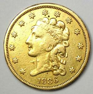 1836 CLASSIC GOLD QUARTER EAGLE $2.50 COIN   VF DETAILS    COIN
